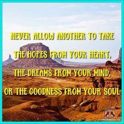 Never allow another to take the hopes from your heart, the dreams from your mind, or the goodness from your soul